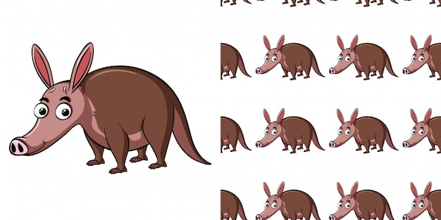 Seamless background design with cute tapir
