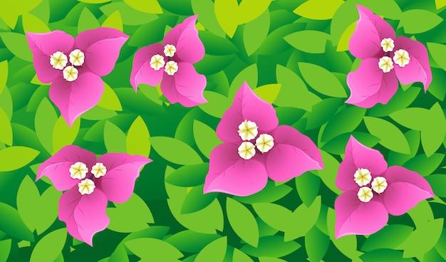 花と葉を使ったシームレスな背景デザイン