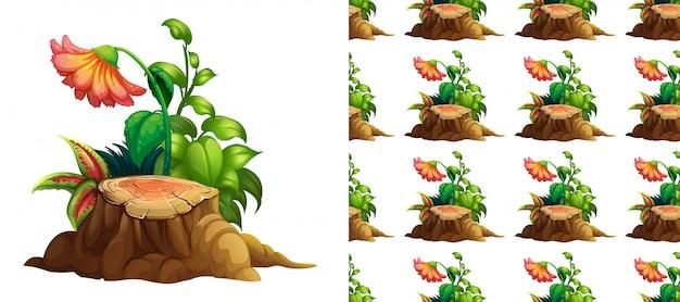 切り株の木に花とのシームレスな背景デザイン