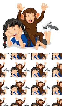 Seamless background design with girl and monkey