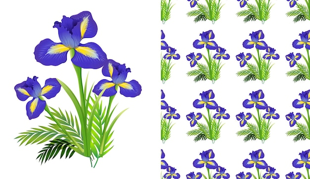Seamless background design with iris flowers and ferns
