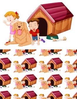 子供と犬とのシームレスな背景デザイン 無料ベクター