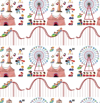 Seamless background design with kids and roller coaster