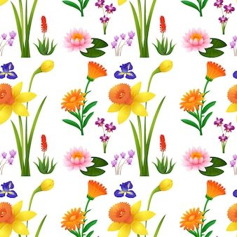 野生の花とのシームレスな背景デザイン