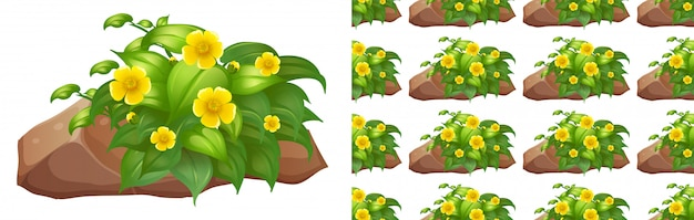 石の上に黄色の花とのシームレスな背景デザイン