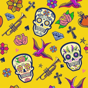 Seamless background of dia de muertos