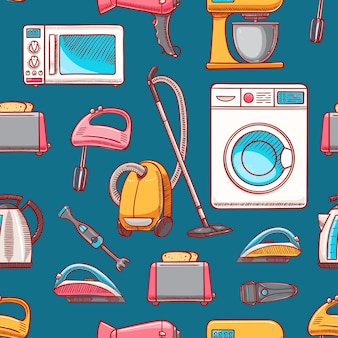 Seamless background of different home appliances.