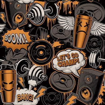 Seamless background for fitness theme in graffiti style, with barbells, dumbbells and cartoony characters.
