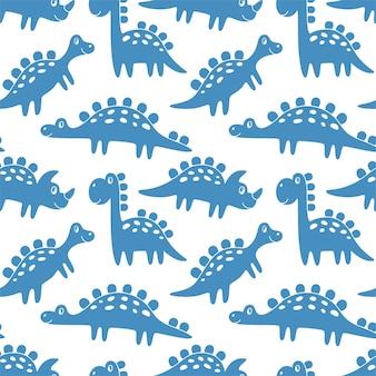 Бесшовный фон из синих динозавров. забавные милые монстры. идеально подходит для детского дизайна, ткани, упаковки, обоев, текстиля, домашнего декора.