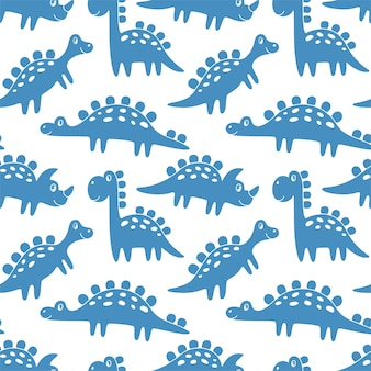 Seamless background from blue dinosaurs. funny cute monsters. ideal for kids design, fabric, packaging, wallpaper, textiles, home decor.