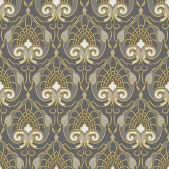 Seamless background of gold pattern on a silver backgroung