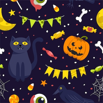 Seamless background for halloween. illustration in cartoon style.