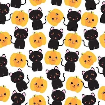 Seamless background of halloween illustration with black cats and jack o lantern suitable for wallpaper, scrap paper, and postcard