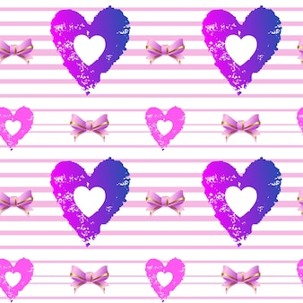 Seamless background. hearts and pink ribbons on a striped background. vector illustration