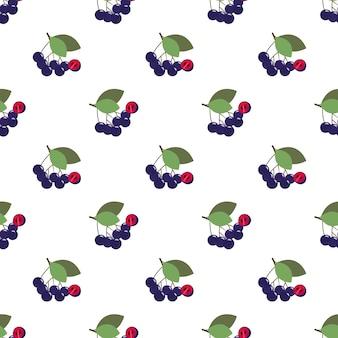 Бесшовные фоновое изображение красочные тропические фрукты черноплодная рябина черноплодная ягода