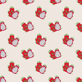 Seamless background image colorful tropical fruit dragon fruit pitaya
