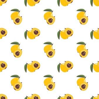 Бесшовные фоновое изображение красочные тропические фрукты мушмула мушмула