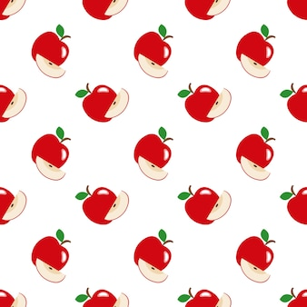 Бесшовные фоновое изображение красочные тропические фрукты красное яблоко