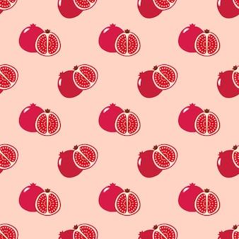 Бесшовные фоновое изображение красочные тропические фрукты красный гранат