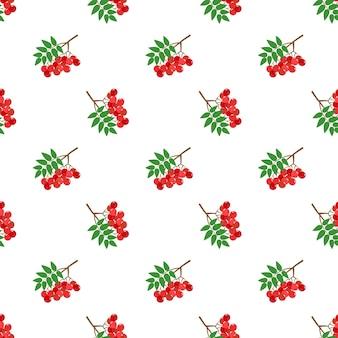 Бесшовные фоновое изображение красочные тропические фрукты красная ягода рябины