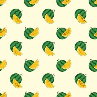 Бесшовные фоновое изображение красочные тропические фрукты желтый арбуз