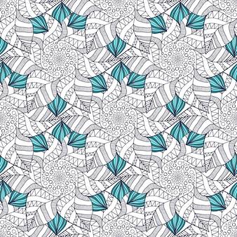 Бесшовный фон в векторе для страницы раскраски для взрослых или текстильного дизайна