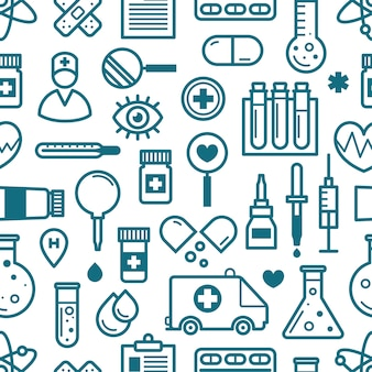 Seamless background of medical icons.