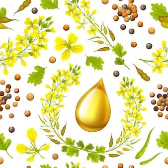 Seamless background of mustard
