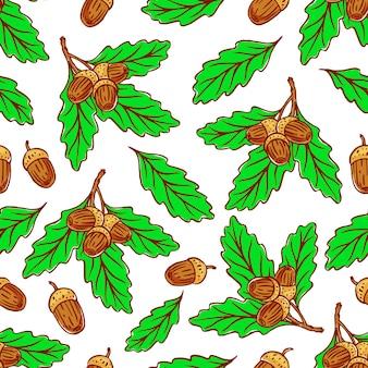Бесшовный фон из желудей и дубовых листьев
