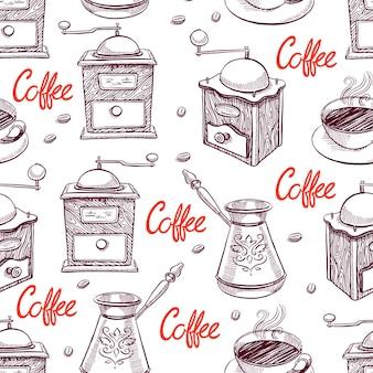美しいスケッチグラインダーとコーヒーのカップのシームレスな背景。手描きイラスト