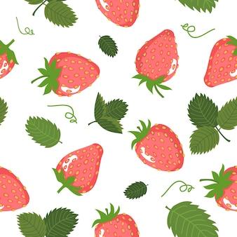 Бесшовный фон из ягод и листьев клубники. векторный узор, белый фон.