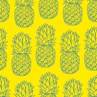 黄色の背景に青いスケッチパイナップルのシームレスな背景。手描きイラスト