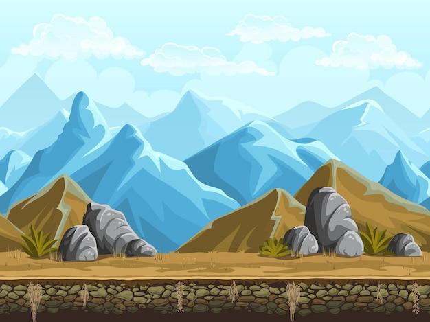 漫画の雪山のシームレスな背景