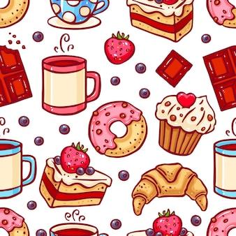コーヒーとデザートのアイコンのシームレスな背景。手描きイラスト