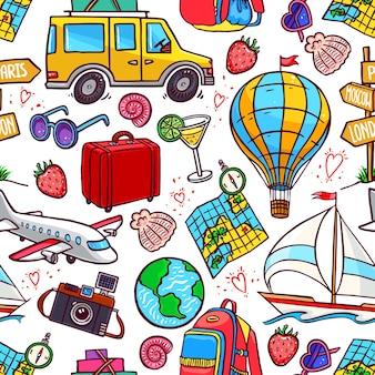 Бесшовный фон из красочных иконок путешествия. самолет, автомобиль, корабль. рисованная иллюстрация