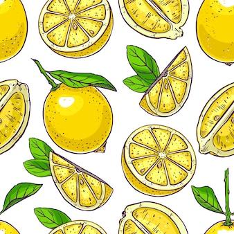 Бесшовный фон из милых лимонов. рисованная иллюстрация