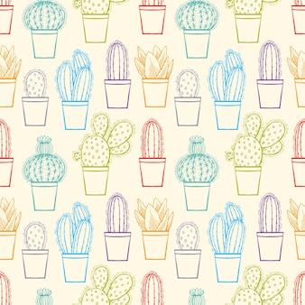 カラフルな植木鉢でかわいい小さなスケッチサボテンのシームレスな背景