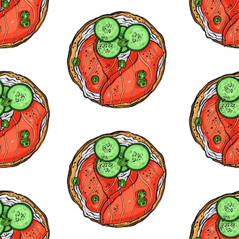 魚や他の食材を使ったおいしい朝食トーストのシームレスな背景。手描きイラスト