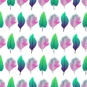 흰색 배경에 다른 다채로운 열 대 잎의 완벽 한 배경