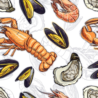 さまざまな海洋動物のシームレスな背景。手描きイラスト