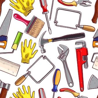 修理のためのさまざまなスケッチツールのシームレスな背景。手描きイラスト