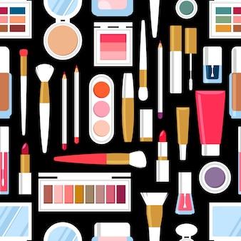Бесшовный фон из различных косметических продуктов. лак для ногтей, тушь, помада, тени для век, кисть, пудра, блеск для губ.