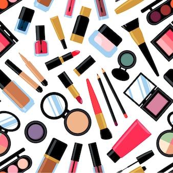 異なる化粧品のシームレスな背景。マニキュア、マスカラ、口紅、アイシャドウ、ブラシ、パウダー、リップグロス。