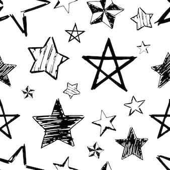 落書き星のシームレスな背景。白い背景の上の黒い手描きの星。ベクトルイラスト