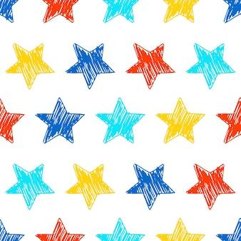 落書き星のシームレスな背景。白い背景の上の多色手描きの星。ベクトルイラスト