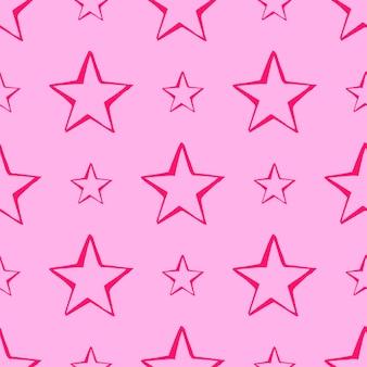 Бесшовный фон из звезд каракули. розовые рисованной звезды на розовом фоне. векторная иллюстрация