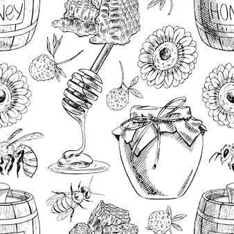 Бесшовный фон из банок меда, пчел, цветов. рисованная иллюстрация
