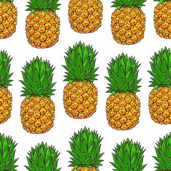 Бесшовный фон из ананасов