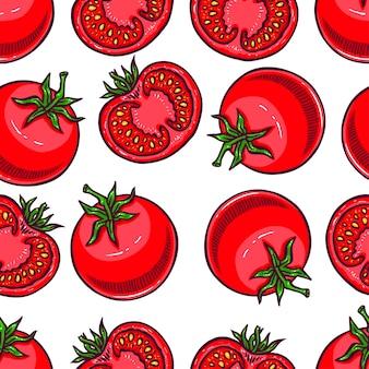 熟した赤いトマトのシームレスな背景。手描きイラスト