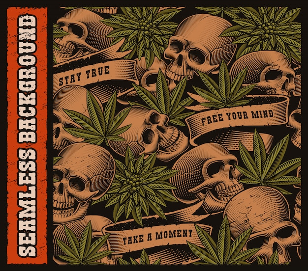 Бесшовный фон из черепов и листьев конопли в винтажном стиле татуировки. наслоено на темном фоне.